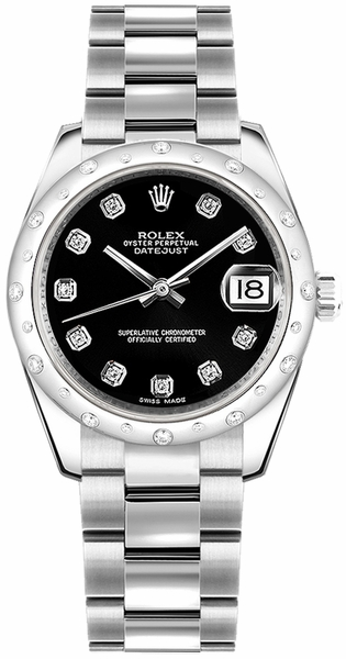 Rolex Datejust 31 Black Diamond Oyster Bracelet Watch 178344