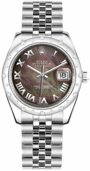 Rolex Datejust 31 Black Mother of Pearl Roman Numeral Dial Watch 178344
