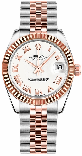 Rolex Datejust 31 White Roman Numeral Dial Watch 178271