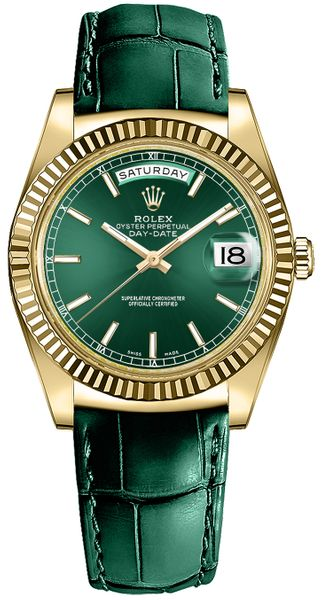 Rolex Day-Date 36 Green Dial Solid 18k Gold Luxury Watch 118138