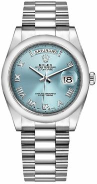 Rolex Day-Date 36 Ice Blue Roman Numeral Dial Watch 118206