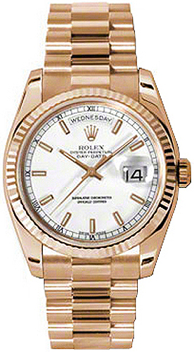 Rolex Day,Date 36 White Dial 18K Rose Gold Watch 118235