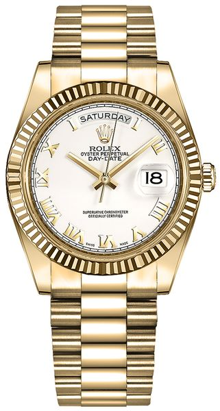 Rolex Day-Date 36 White Roman Numeral Dial Gold Watch 118238