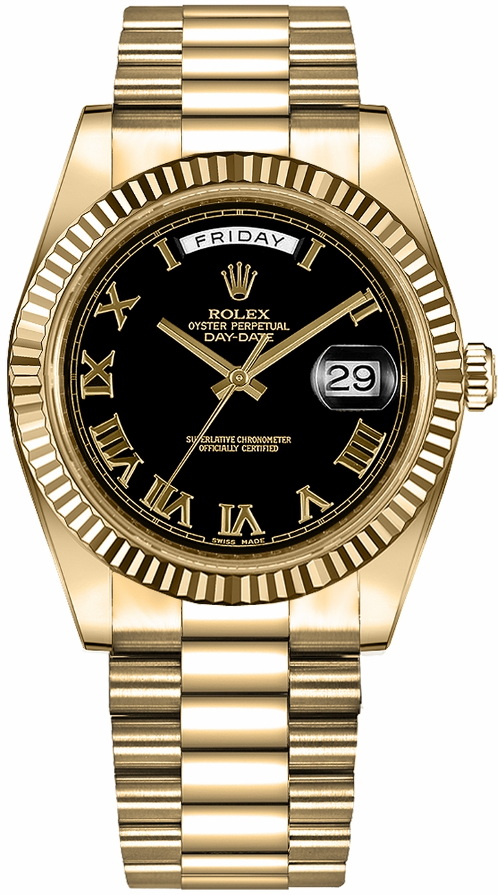 Rolex Day Date 41 Black Roman Numeral Dial Gold Watch 218238