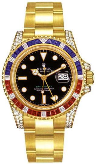 b4ef62c66 116758 Rolex Oyster Perpetual GMT Master 2 Gold Watch Black Dial