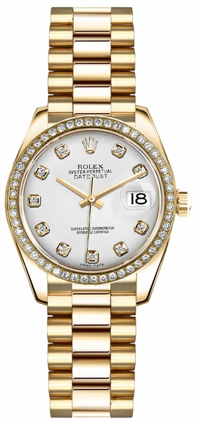 Rolex Lady-Datejust 26 White Diamond Dial Gold Watch 179138