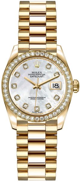 Rolex Lady-Datejust 26 Mother of Pearl Diamond Dial Gold Watch 179138