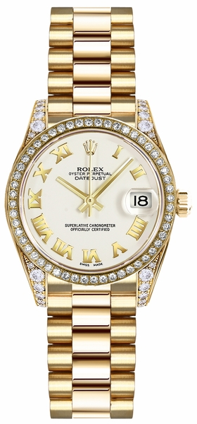 Rolex Lady-Datejust 26 White Roman Numeral Watch 179158