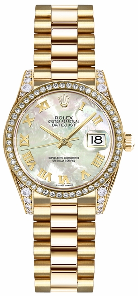 Rolex Lady-Datejust 26 Mother of Pearl Roman Numeral Dial Watch 19158