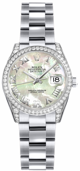 Rolex Lady-Datejust 26 Mother of Pearl Roman Numeral Dial Watch 179159