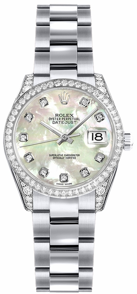 Rolex Lady-Datejust 26 Mother of Pearl Diamond Gold Watch 179159