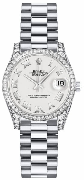 Rolex Lady-Datejust 26 White Roman Numeral Watch 179159