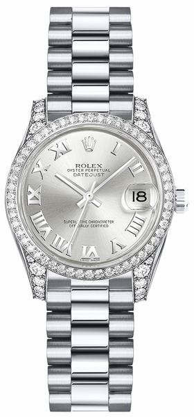 Rolex Lady-Datejust 26 Silver Roman Numeral Gold Watch 179159