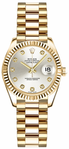 Rolex Lady-Datejust 26 Silver Diamond Dial Gold Watch 179178