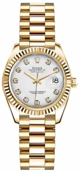 Rolex Lady-Datejust 26 White Diamond Dial Gold Watch 179178
