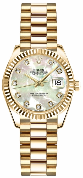 Rolex Lady-Datejust 26 Mother of Pearl Diamond Gold Watch 179178