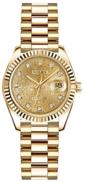 Rolex Lady-Datejust 26 Gold Diamond Watch 179178