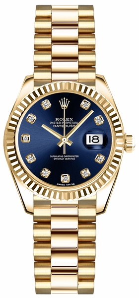 Rolex Lady-Datejust 26 Blue Diamond Dial Gold Watch 179178