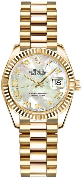 Rolex Lady-Datejust 26 Mother of Pearl Roman Numeral Watch 179178
