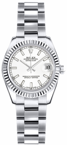 Rolex Lady-Datejust 26 White Dial Gold Watch 179179