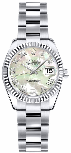 Rolex Lady-Datejust 26 Mother of Pearl Roman Numeral Watch 179179