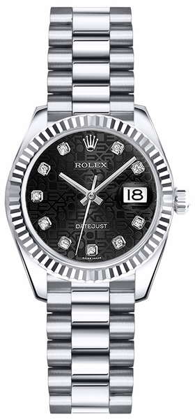 Rolex Lady-Datejust 26 Women's Solid White Gold Watch 179179