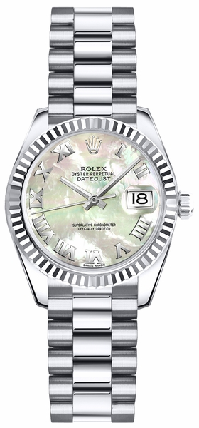 Rolex Lady-Datejust 26 Mother of Pearl White Gold Watch 179179