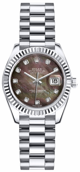 Rolex Lady-Datejust 26 President Bracelet Diamond Gold Watch 179179