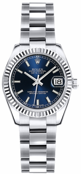 Rolex Lady-Datejust 26 Blue Dial Oyster Bracelet Watch 179179