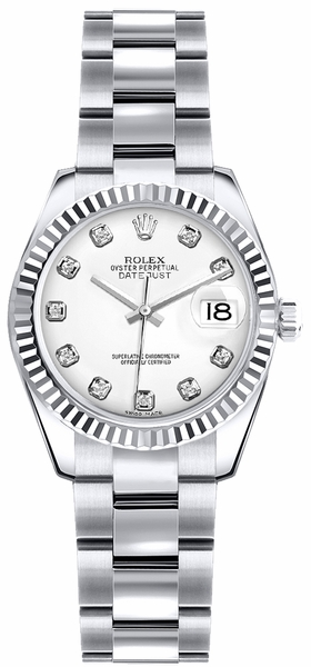 Rolex Lady-Datejust 26 White Dial Oyster Bracelet Watch 179179