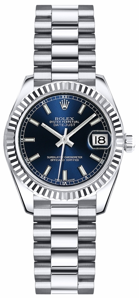 Rolex Lady-Datejust 26 Blue Dial Women's Gold Watch 179179