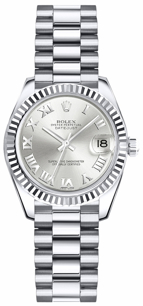 Rolex Lady-Datejust 26 Silver Roman Numeral Dial Gold Watch 179179