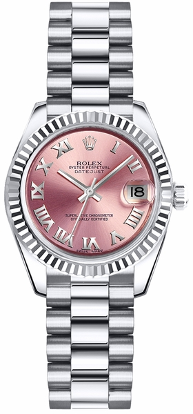 Rolex Lady-Datejust 26 Pink Roman Numeral President Bracelet Watch 179179