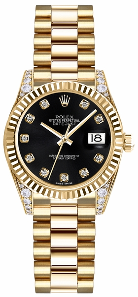 Rolex Lady-Datejust 26 Black Dial Gold Watch 179238