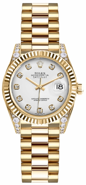 Rolex Lady-Datejust 26 White Diamond Dial Gold Watch 179238