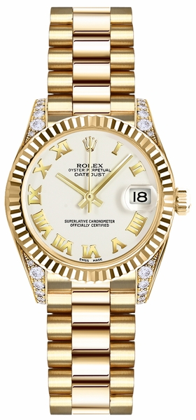 Rolex Lady-Datejust 26 White Dial Yellow Gold Watch 179238