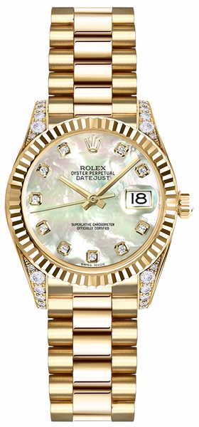 Rolex Lady-Datejust 26 Mother of Pearl Diamond Dial Watch 179238