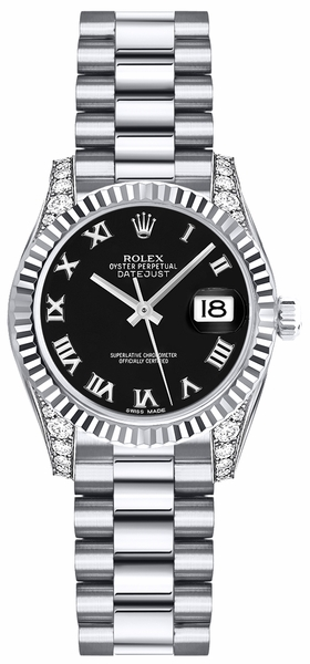 Rolex Lady-Datejust 26 Black Roman Numeral Dial Watch 179239
