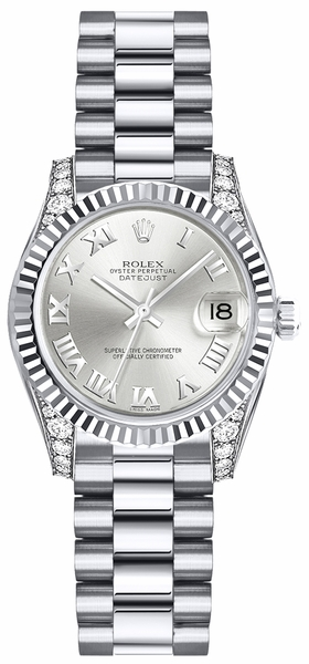 Rolex Lady-Datejust 26 Silver Roman Numeral Gold Watch 179239