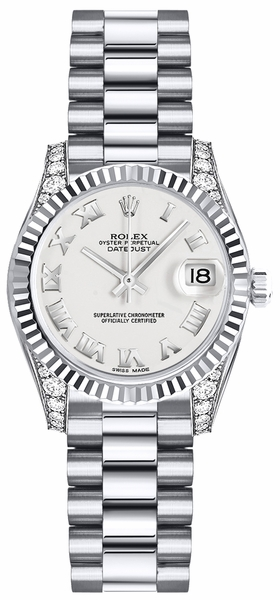 Rolex Lady-Datejust 26 White Roman Numeral Gold Watch 179239