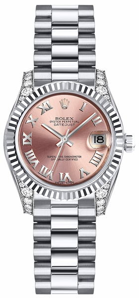 Rolex Lady-Datejust 26 Pink Roman Numeral Gold Watch 179239