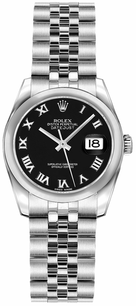 Rolex Lady-Datejust 26 Black Dial Women's Watch 179160
