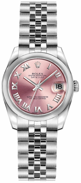 Rolex Lady-Datejust 26 Pink Roman Numeral Dial Watch 179160