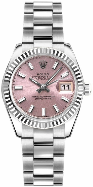 Rolex Lady-Datejust 26 Pink Dial Oyster Bracelet Watch 179174