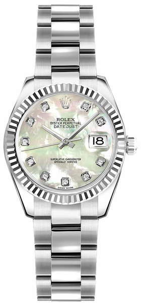 Rolex Lady-Datejust 26 Pearl Diamond Women's Watch 179174