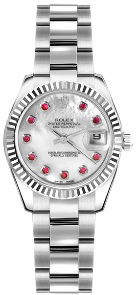 Rolex Lady-Datejust 26 Mother of Pearl Ruby Oyster Bracelet Watch 179174