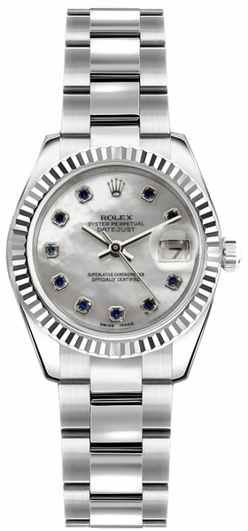 Rolex Lady-Datejust 26 Mother of Pearl Sapphire Dial Watch 179174