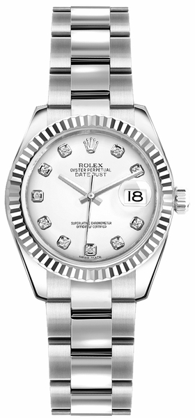 Rolex Lady-Datejust 26 White Diamond Oyster Bracelet Watch 179174
