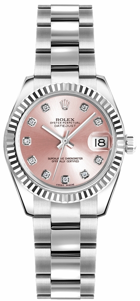 Rolex Lady-Datejust 26 Pink Diamond Dial Watch 179174