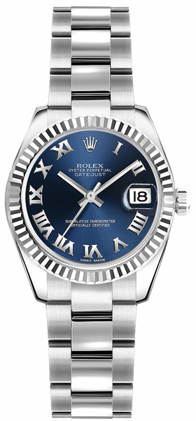 Rolex Lady-Datejust 26 Blue Roman Numeral Oyster Bracelet Watch 179174